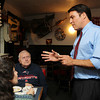 US Congress candidate Richard Tisei, right, talks with Carol Anne O'Leary, left, of Rowley, and her father Arthur Grenier, center, of Malden, at The Clam Box in Ipswich on Thursday afternoon. David Le/Staff Photo