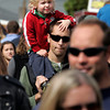 Topsfield:<br /> Brodie Allen, 2, gets a better view from atop the shoulders of his father, James, while navigating through the crowds at the Topsfield Fair. They reside in Atkinson, New Hampshire.<br /> Photo by Ken Yuszkus/The Salem News, Monday, October 8, 2012.