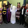 "Lauren Poussard, Ann-Marie Ciaraldi, Charlene St. Jean, Julie Adams, Fran Dichner, and Stephanie VanGeyte, at the Beverly and Peabody Chamber of Commerce's ""Spooktacular"" event on Thursday evening. David Le/Staff Photo"