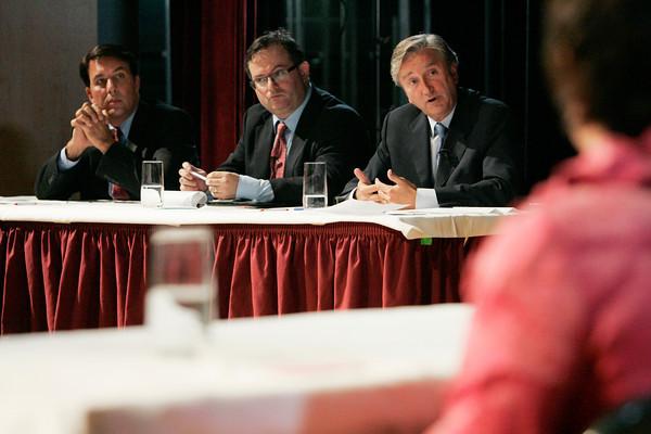 Danvers:<br /> From left, Richard Tisei, Daniel Fishman, and John Tierney during the debate at Danvers High School.<br /> Photo by Ken Yuszkus/The Salem News, Wednesday, October 10, 2012.