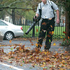 Salem:<br /> Barry Eliuk, engineer, uses a leaf blower on the Hawthorne Hotel parking lot as part of the cleanup after the storm Tuesday morning.<br /> Photo by Ken Yuszkus/The Salem News, Tuesday, October 30, 2012.