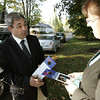 DANVERS — Ted Speliotis speaks with Lisa Bucco while campaigning in the Clinton Avenue neighborhood on Monday, Oct. 22.<br /> Ken Yuszkus/Staff photo