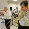 Danvers:<br /> From left, John Kendrick, Tom Ruggles, and John Bailey, members of the 7 piece Maple Sugar Jazz Band play at the Danvers Council on Aging.<br /> Photo by Ken Yuszkus/The Salem News, Thursday, November 8, 2012.