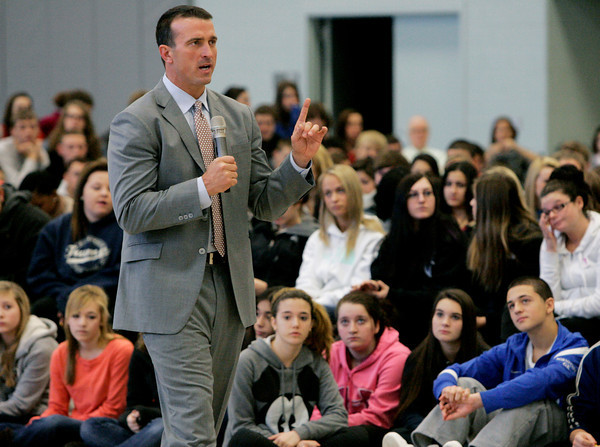 Danvers:<br /> Former Celtic Chris Herren speaks to students at Danvers High School.<br /> Photo by Ken Yuszkus/The Salem News, Thursday, December 6, 2012.