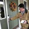 DANVERS — Dan Bennett, is dropping literature in the Hood Road area on Oct. 23 as he runs for state representative of the 13th Essex District.<br /> Ken Yuszkus/Staff photo