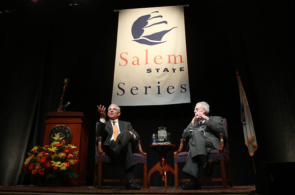 Former Red Sox Manager Bobby Valentine, left, and renowned baseball writer Peter Gammons speak at the Salem State University Speaker Series on Thursday evening. David Le/Staff Photo