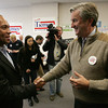 Salem:<br /> Governor Patrick, left, is greeted by Congressman John Tierney as the governor arrives at the Salem Democratic headquarters.<br /> Photo by Ken Yuszkus/The Salem News, Monday, November 5, 2012.