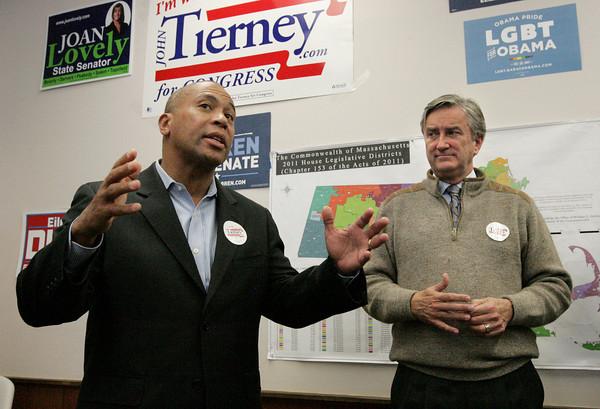Salem:<br /> Governor Patrick, left, speaks at the Salem Democratic headquarters with Congressman John Tierney at his side. <br /> Photo by Ken Yuszkus/The Salem News, Monday, November 5, 2012.