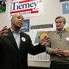Salem:<br /> Governor Patrick, left, speaks at the Salem Democratic headquarters with Congressman John Tierney at his side. <br /> Photo by Ken Yuszkus/The Salem News, Monday, November 5, 2012.