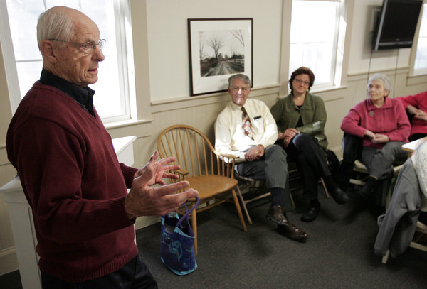 Wenham:<br /> Richard Eddy speaks at the luncheon celebrating Dick Eddy Day which was held in his honor at the Wenham Council on Aging.<br /> Photo by Ken Yuszkus/The Salem News, Friday, November 16, 2012.