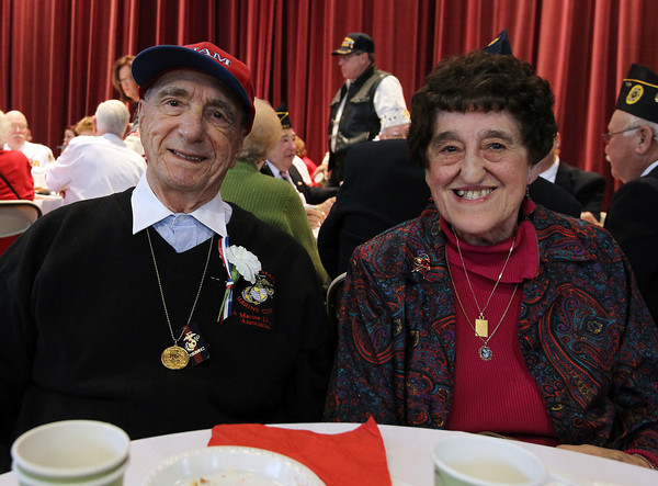 Salvatore and Anna Mistretta of Peabody, pose for a photo at the first annual Veterans Breakfast at Peabody City Hall hosted by Mayor Ted Bettancourt on Sunday morning. David Le/Staff Photo
