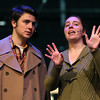 """Salem State University freshman David Meredith and sophomore Lia Parisi rehearse a scene from the musical """"Cabaret,"""" which will be playing at the Salem State Mainstage Auditorium from November 29th until December 9th. David Le/Staff Photo"""