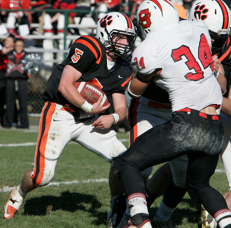 Beverly:<br /> Beverly's Dom Abate plows into Salem's defense during the Salem at Beverly Thanksgiving football game held at Hurd Stadium.<br /> Photo by Ken Yuszkus/The Salem News, Thursday, November 22, 2012.