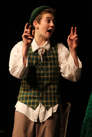 Danvers High School freshman Sam Montanari plays the part of Jack in the Danvers High Academy Theatre's performance of Jack and the Giant Beanstalk. David Le/Staff Photo