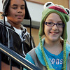 Salem:<br /> Anthony Marinez and Aiyana Lilly, both 5th graders wear hats at the Bates School as part of the Hurricane Sandy fund-raiser for American Red Cross. Any child who brought in a donation for hurricane victims in NY and NJ was allowed to wear a hat all day. <br /> Photo by Ken Yuszkus/The Salem News, Friday, November 9, 2012.