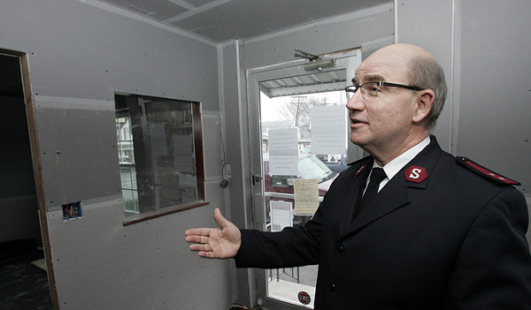 Beverly:<br /> Salvation Army Capt. Scott McNeil talks about the renovations taking place at the Beverly Salvation Army building.<br /> Photo by Ken Yuszkus/The Salem News, Tuesday, November 27, 2012.