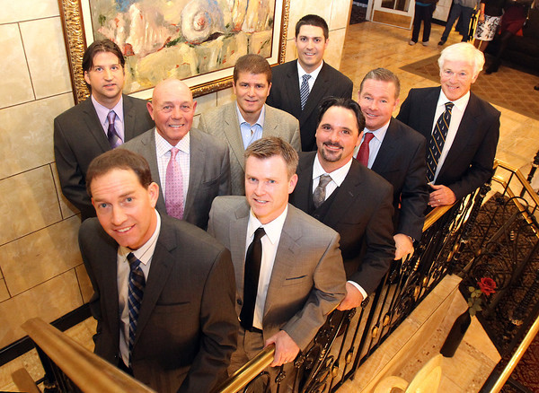 St. John's Prep 2012 Hall of Fame Inductees Back Row (L-R): Scott MacDonald, Coach John Aucone, Dan Carnevale, and Peter Frates. Front Row (L-R): Todd Buckley, Peter Roy, Jeremy Long, Patrick Gould, and Edward Eagan. David Le/Staff Photo