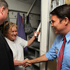 """IPSWICH — U.S. Congress candidate Richard Tisei, right, shakes hands with The Clam Box owner Marina """"Chickie"""" Aggelakis, center, after being introduced by state Rep. Brad Hill, left, on Thursday, Oct. 25.<br /> David Le/Staff photo"""