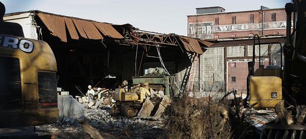 Salem:<br /> Demolition of Universal Steel building in Salem<br /> Photo by Ken Yuszkus/The Salem News, Friday, November 30, 2012.