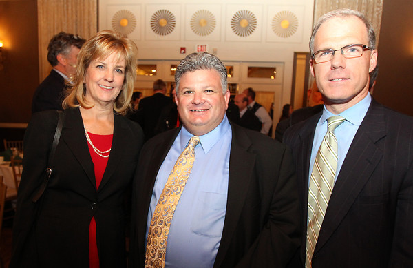 From left, Sen.-elect Joan Lovely, Scott Silverstein of Footprint Power, and State Representative John Keenan, at the North Shore Chamber of Commerce Annual Dinner at the Danversport Yacht Club on Wednesday evening. David Le/Staff Photo