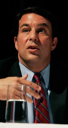 Danvers:<br /> Richard Tisei speaks during the debate at Danvers High School.<br /> Photo by Ken Yuszkus/The Salem News, Wednesday, October 10, 2012.