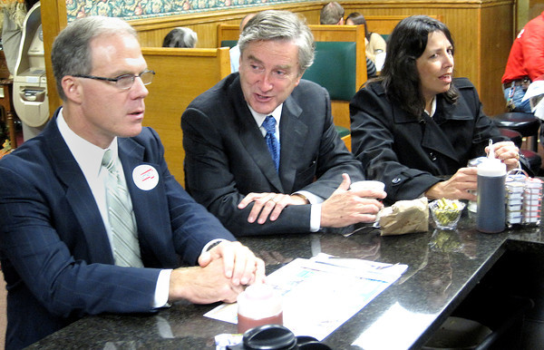 SALEM — A stop at Red's Sandwich Shop is almost compulsory for candidates campaigning in Salem. Enjoying the break are, from left, state Rep. John Keenan, Congressman John Tierney and Mayor Kim Driscoll. <br /> Photo by Jesse Roman/The Salem News, Tuesday, Oct. 23, 2012.