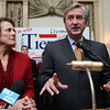 Re-elected US Congressman John Tierney, alongside his wife Patrice, speaks to a large crowd gathered in the Ballroom at the Hawthorne Hotel in Salem early Wednesday morning after narrowly beating out challenger Richard Tisei in the 6th Congressional District. David Le/Staff Photo