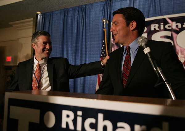 Peabody:<br /> Richard Tisei, candidate for U.S. senate, 6th district, acknowledges his partner, Bernard Starr, as he speaks at his party held at the Peabody Marriott.<br /> Photo by Ken Yuszkus.