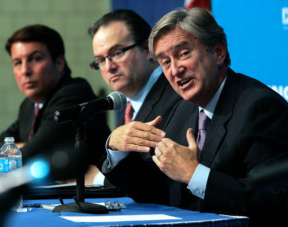 LYNN — From left, Richard Tisei, Daniel Fishman, and Congressman John Tierney at a congressional debate held at North Shore Community College's Lynn Campus on Sept. 27.<br /> Ken Yuszkus/Staff photo