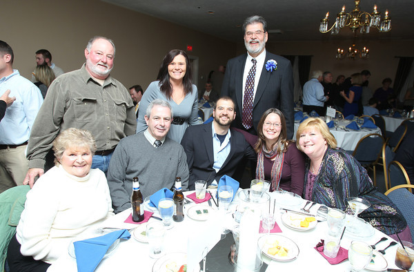 Back Row (L-R): John Romano, Anne Gilman, and Danvers Hall of Fame inductee Len Elwin. Front Row (L-R): Barbara and Ed Romano, Steve Elwin, Laurie de Castro, and Dot Elwin. David Le/Staff Photo