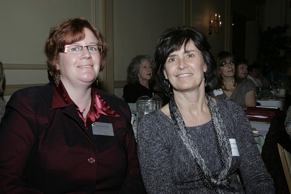 Salem:<br /> Gayla Bartlett, left, of Cranney Self Storage Inc., and Mo Levasseur, of Profile Research, Inc., attend the annual Million Dollar Women symposium held at the Hawthorne Hotel.<br /> Photo by Ken Yuszkus/The Salem News, Wednesday, November 14, 2012.