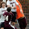 Ipswich:<br /> Ipswich's David Dick heads the ball near the net as he collides into Whittier's goalie Jon Hewey during the Whittier at Ipswich boys soccer Division 3 North state tournament game.<br /> Photo by Ken Yuszkus/The Salem News, Friday, November 2, 2012.