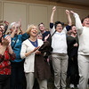 John Tierney supporters in the Ballroom at the Hawthorne Hotel in Salem erupt after it was announced that President Barack Obama defeated Governor Mitt Romney in the 2012 Presidential Election. David Le/Staff Photo