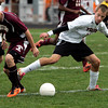 Ipswich:<br /> Whittier's Steven Stefanelli, left, and Ipswich's Ryan Law compete for the ball during the Whittier at Ipswich boys soccer Division 3 North state tournament game.<br /> Photo by Ken Yuszkus/The Salem News, Friday, November 2, 2012.