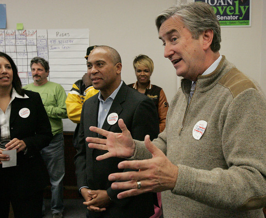 Salem:<br /> From left, Mayor Driscoll and Governor Patrick, listen to Congressman John Tierney speak at the Salem Democratic headquarters.<br /> Photo by Ken Yuszkus/The Salem News, Monday, November 5, 2012.