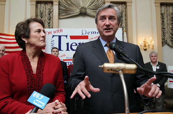 U.S. Congressman John Tierney, alongside his wife Patrice, speaks to a large crowd gathered in the Ballroom at the Hawthorne Hotel in Salem early Wednesday morning, Nov. 7. In his address, Tierney claimed victory over Republican challenger Richard Tisei in the race to represent the 6th Congressional District. <br /> David Le/staff photo