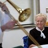 Danvers:<br /> Helen Farnsworth listens to the 7 piece Maple Sugar Jazz Band play at the Danvers Council on Aging.<br /> Photo by Ken Yuszkus/The Salem News, Thursday, November 8, 2012.