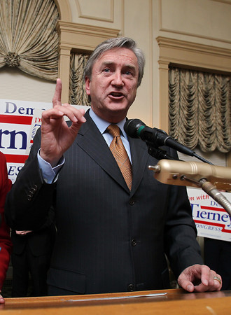 Re-elected US Congressman John Tierney thanks a large crowd gathered in the Ballroom at the Hawthorne Hotel in Salem early Wednesday morning after narrowly beating out challenger Richard Tisei. David Le/Staff Photo