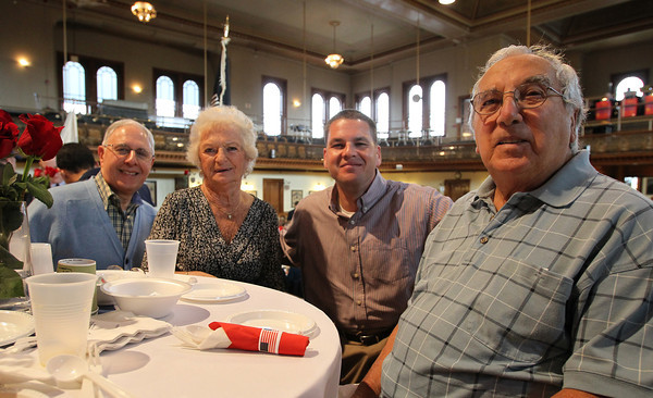From left, Albert Mangone, Rita Solano, Steven Mangone, and Edward Solano, at the first annual Veterans Breakfast held at City Hall, hosted by Peabody Mayor Ted Bettancourt. David Le/Staff Photo