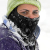 Danvers:<br /> Jessica Evans of Danvers, is snow encrusted. She was snowblowing the snow at her home so she could get out to a job interview in the afternoon which was still on despite the snowstorm.<br /> Photo by Ken Yuszkus/Salem News, Wednesday, January 13, 2011.