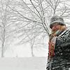 Salem: Paula Ricci of Salem bundled up for a walk along the Salem Common during the blizzard.  photo by Mark Teiwes / Salem News