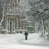 Beverly: A lone person walks along Cabot Street in Beverly on Wednesday morning. Photo by Mark Lorenz/Salem News