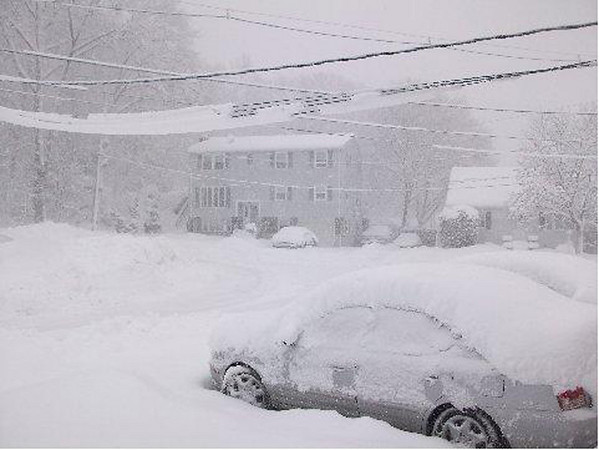 The wires are very low and snow laden, by Vicki Maynard of Peabody.