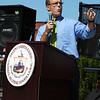 State Rep. John Keenan addresses the crowd at the opening ceremony for the Harborwalk in downtown Salem on Thursday afternoon. Photo by David Le/Salem News