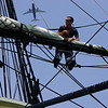 AEAN naval officer, Matthew DeAngelo waits for orders to let down a sail while aboard the Friendship Tuesday. Naval officers, who will work aboard the USS Constitution, trained aboard the Friendship for three days this past week. They have been doing dry dock training since May and this was their first chance to train at sea. Photo by Deborah Parker/July 14, 2010