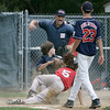 Beverly: Amesbury's Rey Miles is called out as he tries to steal home in the first inning. Photo by Mary Catherine Adams/Salem News.<br /> , Beverly: Amesbury's Rey Miles is called out as he tries to steal home in the first inning. Photo by Mary Catherine Adams/Salem News.