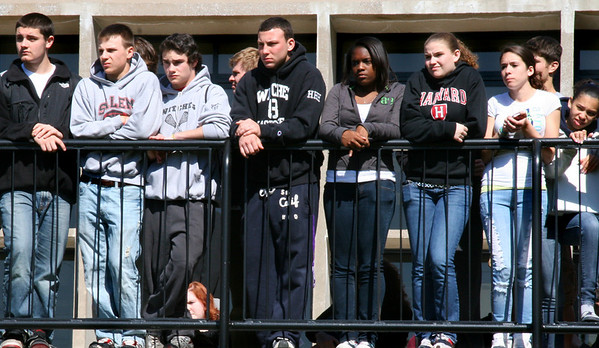 Salem: Salem High School students watch a mock car crash from a balcony behind the school. The crash was staged to discourage students from drinking and driving. Photo by Mary Catherine Adams/Salem News<br /> , Salem: Salem High School students watch a mock car crash from a balcony behind the school. The crash was staged to discourage students from drinking and driving. Photo by Mary Catherine Adams/Salem News