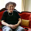 Beverly: Dorothea Nixon, 88, laughs after trying on a Victorian-era hat left over from the Girdler House's 125th anniversary celebration. Photo by Mary Catherine Adams/Salem News.<br /> , Beverly: Dorothea Nixon, 88, laughs after trying on a Victorian-era hat left over from the Girdler House's 125th anniversary celebration. Photo by Mary Catherine Adams/Salem News.