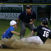 Salem: Swampscott's Jake Fitzpatrick is tagged out by Danvers' Wes Milbury as Fitzpatrick tries to steal second in the fourth inning.  Photo by Mary Catherine Adams/Salem News.<br /> em News.<br /> , Salem: Swampscott's Jake Fitzpatrick is tagged out by Danvers' Wes Milbury as Fitzpatrick tries to steal second in the fourth inning.  Photo by Mary Catherine Adams/Salem News.<br /> em News.