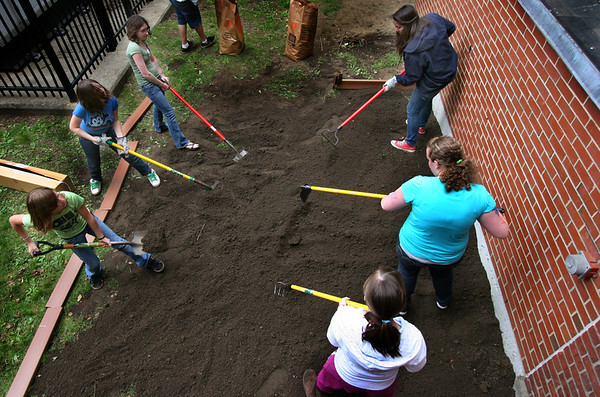 "Salem: Seventh and eighth-graders at Saltonstall School work on a garden bed during the annual Earth Day festivities at their school. This year's celebration theme is ""Think Globally - Act Locally."" Photo by Mary Catherine Adams/Salem News May 12, 2010<br /> , Salem: Seventh and eighth-graders at Saltonstall School work on a garden bed during the annual Earth Day festivities at their school. This year's celebration theme is ""Think Globally - Act Locally."" Photo by Mary Catherine Adams/Salem News May 12, 2010"